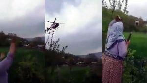 Ambulans helikopterin tarlalarına inmesine izin vermediler