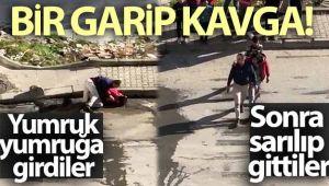 Arnavutköy'de bir garip kavga kamerada