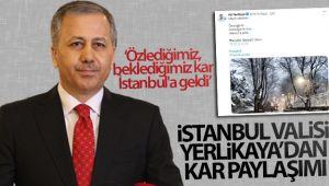 İstanbul Valisi Ali Yerlikaya'dan kar paylaşımı