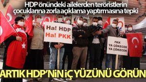 HDP önündeki aileler, teröristlerin çocuklarına zorla açıklama yaptırmasına tepki gösterdi