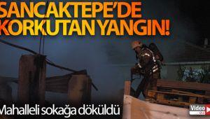 Sancaktepe'de içinde tüplerin bulunduğu palet deposu yandı